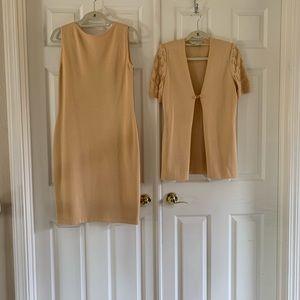 Vintage St John Knit soft gold 2 piece dress